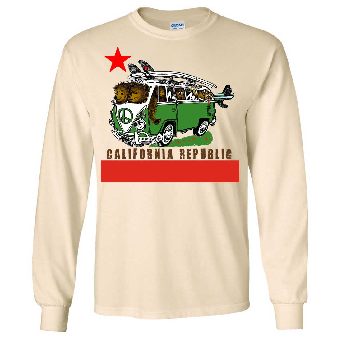 Shop California Republic bear flag long sleeve shirt created by iprint. Personalise it with photos & text or purchase as is!