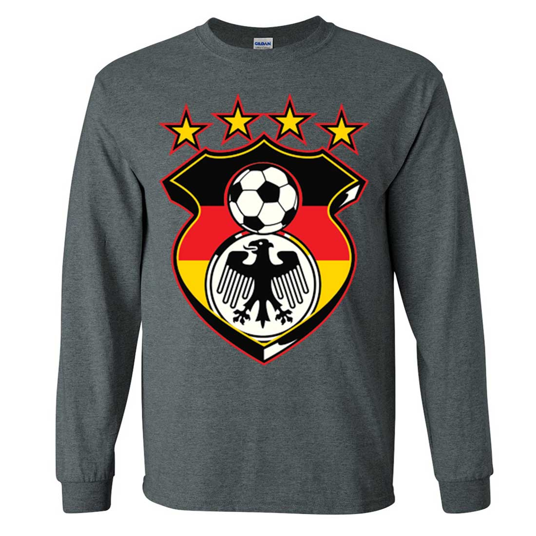 Germany soccer coat of arms futbol team long sleeve shirt for Shirts for men with long arms