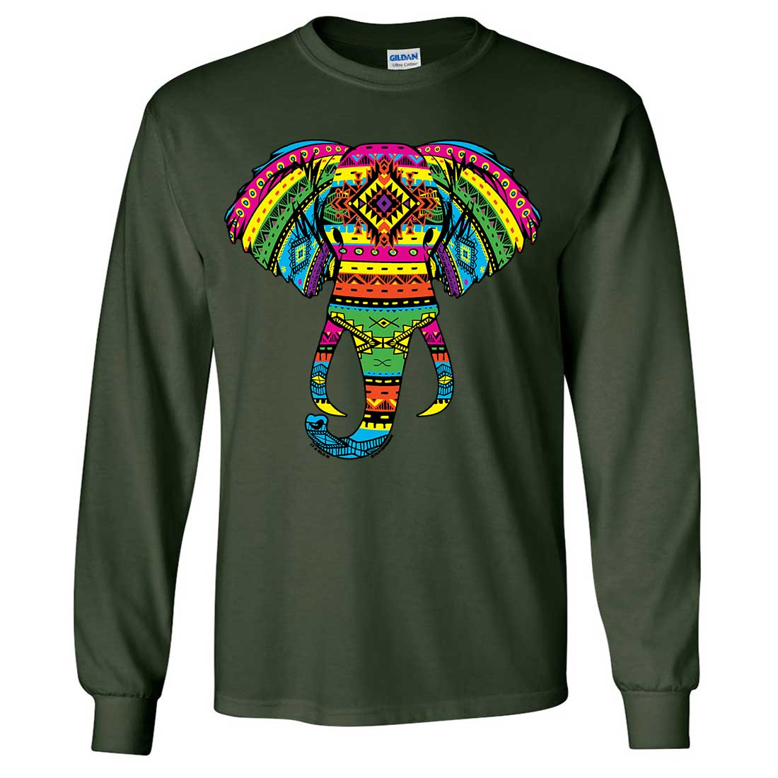 tribal neon print african elephant head long sleeve shirt