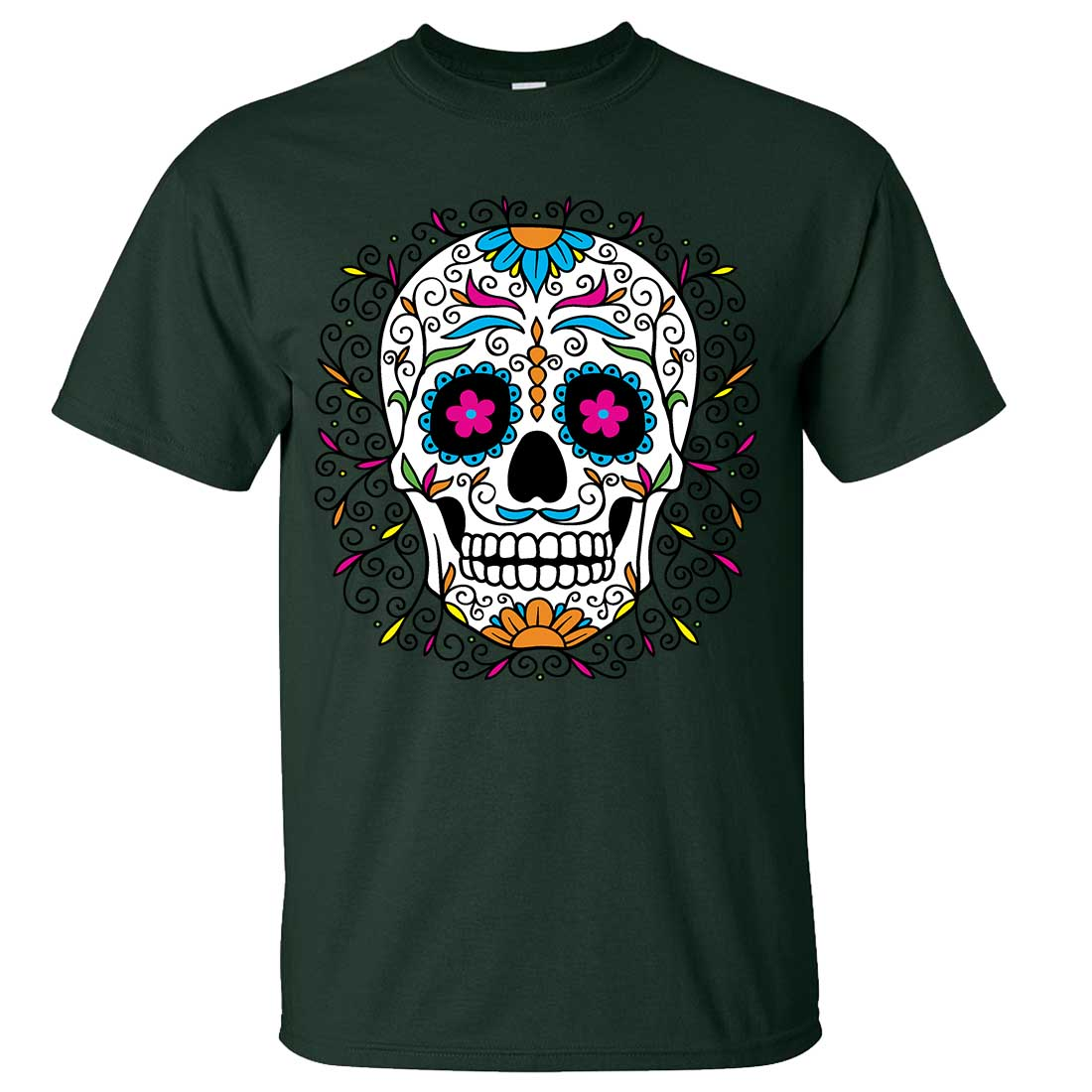Dia de los muertos pastel sugar skull asst colors t shirt tee for Pastel colored men s t shirts