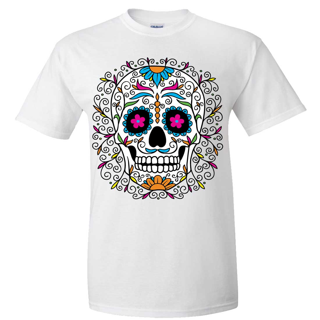 Dia de los muertos pastel sugar skull asst colors t shirt for Pastel colored men s t shirts