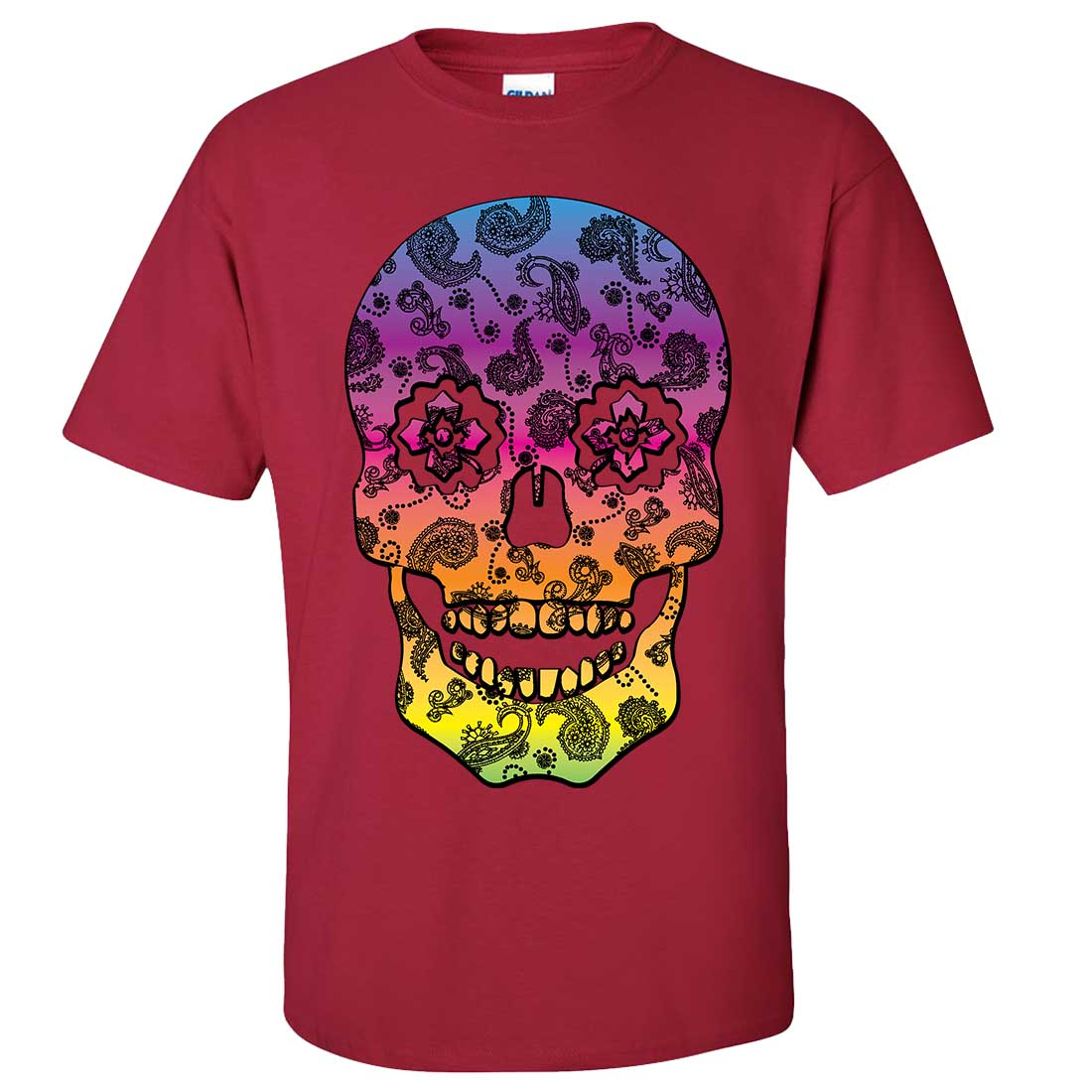 Neon paisley print sugar skull asst colors t shirt tee ebay for Cardinal color t shirts